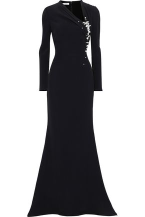 OSCAR DE LA RENTA Faux pearl and bead-embellished crepe gown