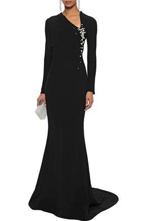 OSCAR DE LA RENTA Faux pearl and bead-embellished crepe gown