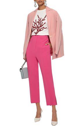 OSCAR DE LA RENTA Sequin-embellished Supima cotton and modal-blend T-shirt