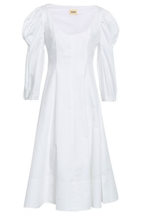 KHAITE Edwina pleated cotton-poplin dress