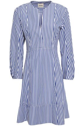 KHAITE Vanessa striped cotton-poplin mini dress