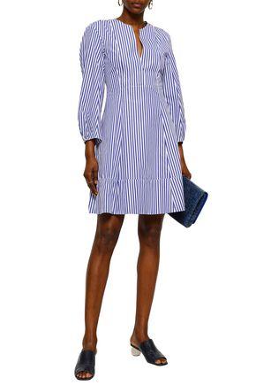 KHAITE Vanessa striped cotton-poplin mini dress