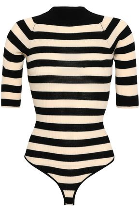 KHAITE Constance ribbed striped stretch-wool bodysuit