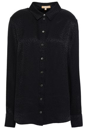 MICHAEL KORS COLLECTION Leopard-print silk-jacquard shirt