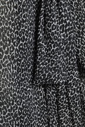 MICHAEL KORS COLLECTION Pussy-bow leopard-print silk-voile blouse