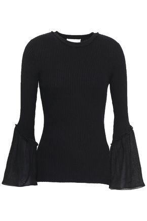 3.1 PHILLIP LIM Ribbed-knit silk and cotton-blend top
