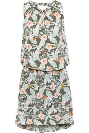 JOIE Sabera gathered printed silk crepe de chine mini dress