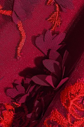 MARCHESA NOTTE Off-the-shoulder floral-appliquéd embroidered tulle gown