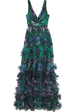 MARCHESA NOTTE Velvet-trimmed appliquéd floral-print organza gown