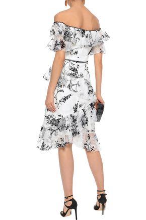 MARCHESA NOTTE Off-the-shoulder flocked tulle dress