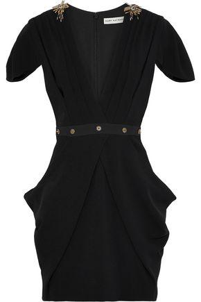 MARY KATRANTZOU Garde wrap-effect embellished crepe mini dress