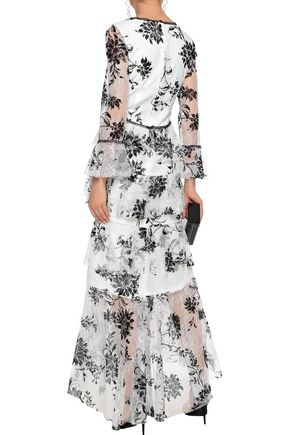 MARCHESA NOTTE Tiered flocked Chantilly lace gown