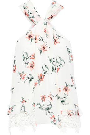 JOIE Segalle twist-front guipure lace-trimmed floral-print silk halterneck top