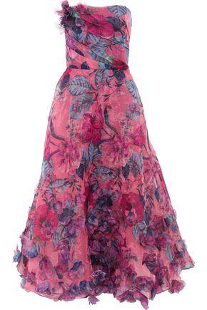 MARCHESA NOTTE Strapless appliquéd floral-print organza gown
