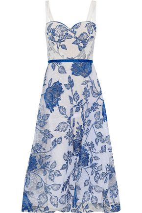 MARCHESA NOTTE Embroidered point d'esprit midi dress
