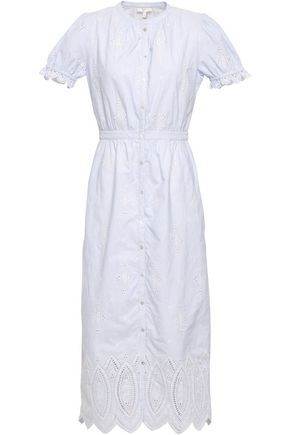 JOIE Broderie anglaise cotton midi dress