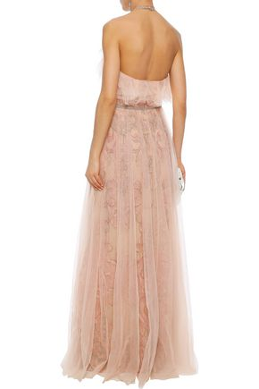 MARCHESA NOTTE Layered embellished tulle halterneck gown