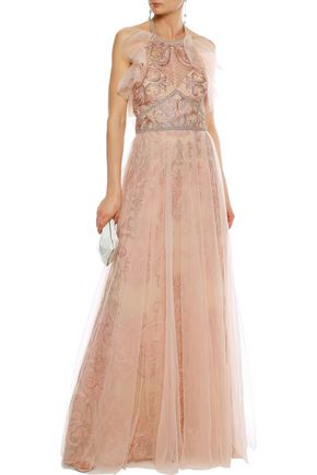 092e431c MARCHESA NOTTE Layered embellished tulle halterneck gown