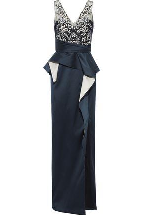 MARCHESA NOTTE Embellished tulle-paneled ruffled satin peplum gown