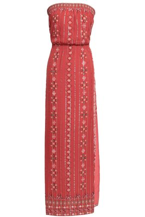 JOIE Lamé-trimmed printed silk-blend jacquard maxi dress