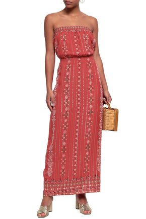 JOIE Lamé-trimmed printed silk-blend jacquard maxi dress
