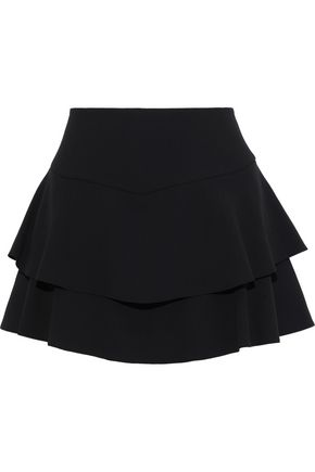 ALICE + OLIVIA Paloma layered ruffled crepe shorts