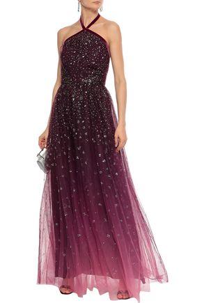 MARCHESA NOTTE Glittered dégradé tulle halterneck gown