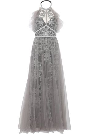 MARCHESA NOTTE Layered embellished tulle halterneck gown