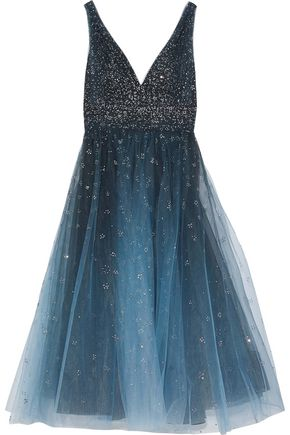 MARCHESA NOTTE Glittered degradé tulle midi dress