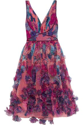 MARCHESA NOTTE Pleated appliquéd floral-print organza dress