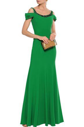 MARCHESA NOTTE Cold-shoulder embellished cady gown