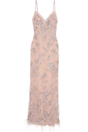 MARCHESA NOTTE | Marchesa Notte Feather-Embellished Embroidered Tulle Gown | Goxip