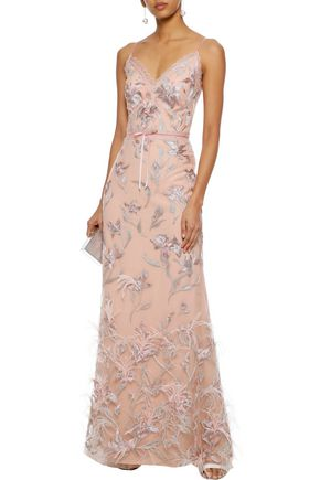 MARCHESA NOTTE Feather-embellished embroidered tulle gown