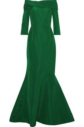 01d481bd8cd OSCAR DE LA RENTA Off-the-shoulder fluted silk-taffeta gown ...