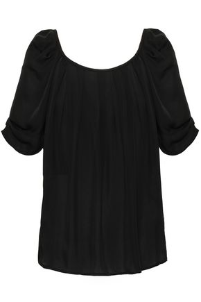 JOIE Gathered silk-crepe top