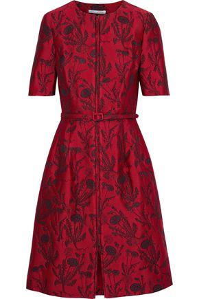 OSCAR DE LA RENTA Flared belted metallic jacquard dress