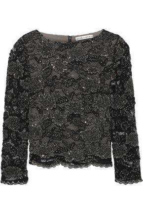 ALICE + OLIVIA Amal bead-embellished corded lace top