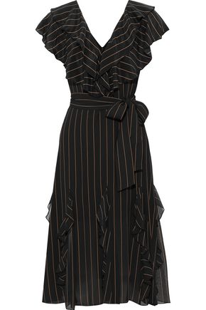 ALICE + OLIVIA Tessa ruffled pinstriped crepe de chine dress