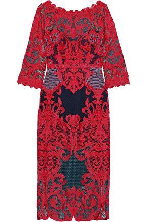 MARCHESA NOTTE Guipure lace dress