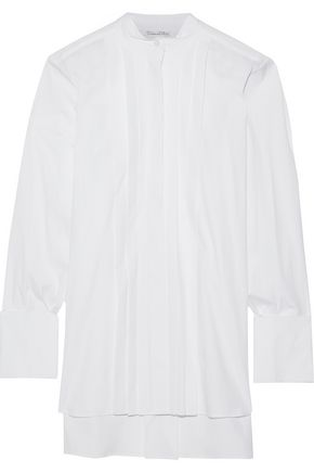 OSCAR DE LA RENTA Oversized pintucked cotton-poplin shirt