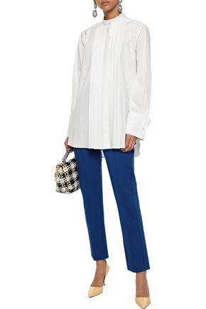 OSCAR DE LA RENTA Oversized pintucked cotton-poplin shirt