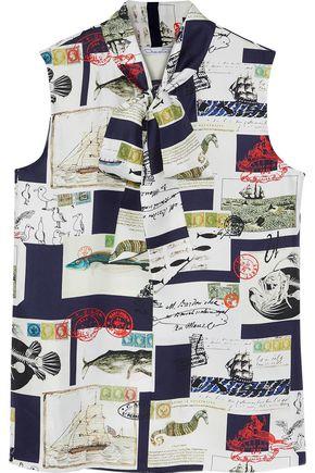 OSCAR DE LA RENTA Pussy-bow printed silk-twill top
