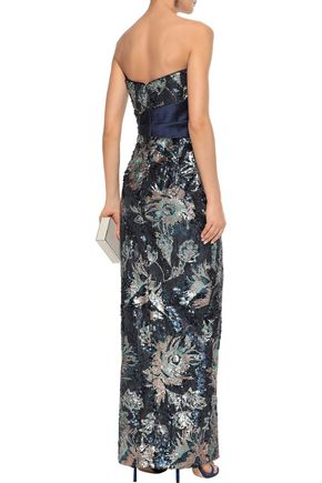 MARCHESA NOTTE Strapless bow-embellished sequined crepe gown