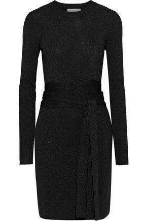 3.1 PHILLIP LIM Belted metallic ribbed stretch-knit mini dress