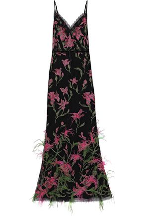 MARCHESA NOTTE フェザー付き 刺繍入り チュール ロングドレス