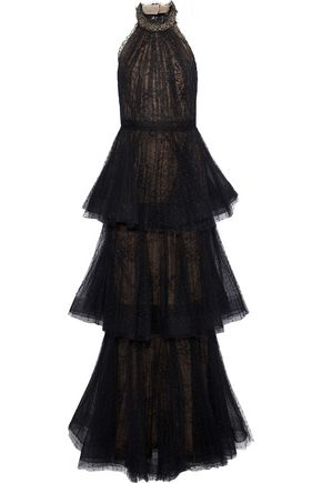 MARCHESA NOTTE Tiered pleated point d'esprit halterneck gown