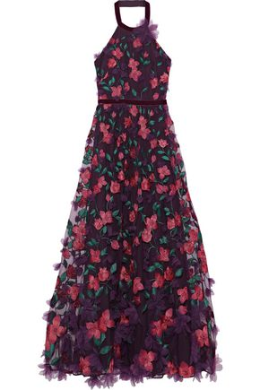 MARCHESA NOTTE Floral-appliquéd embroidered tulle halterneck gown