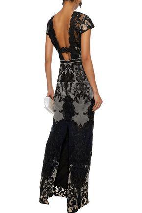 MARCHESA NOTTE Cutout scalloped guipure lace gown