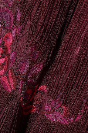 MARCHESA NOTTE Fringed embellished lace midi dress