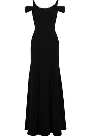 MARCHESA NOTTE Cold-shoulder embellished cady gown